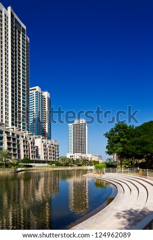 DUBAI, UAE - OCTOBER 2 - The Views Residence Towers at The Greens, a residential district of Dubai nearby the Dubai Marina.  on October 2, 2012.