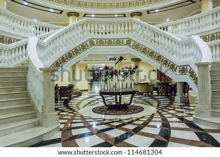 DUBAI, UAE - SEPTEMBER 29: Kempinski Hotel and Residences (129 luxury suites, penthouses and villas) on man-made island of Palm Jumeirah at September 29, 2012 in Dubai, United Arab Emirates. Interior.