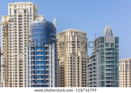 DUBAI, UAE - SEPTEMBER 30: Modern architecture in Dubai, on September 30, 2012 in Dubai, UAE. Dubai now boasts more completed skyscrapers higher than 0,8  0,25 km than any other city.