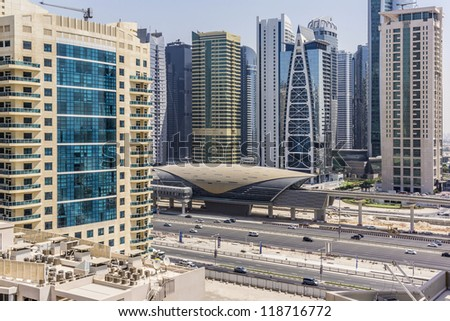 DUBAI, UAE - SEPTEMBER 30: View of metro station in Dubai, on September 30, 2012 in Dubai, UAE. Guinness World Records has declared Dubai Metro as world's longest fully automated metro network (75 km) - stock photo