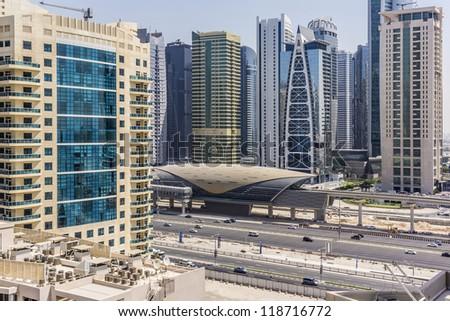 DUBAI, UAE - SEPTEMBER 30: View of metro station in Dubai, on September 30, 2012 in Dubai, UAE. Guinness World Records has declared Dubai Metro as world's longest fully automated metro network (75 km)