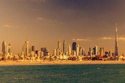 Dubai, United Arab Emirates: Downtown in the beautiful sunset