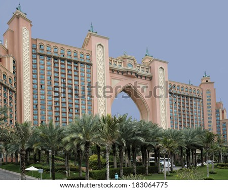 DUBAI, UNITED ARAB EMIRATES - FEBRUARY 9, 2014: Atlantis the Palm is a resort at Palm Jumeirah artifical island in Dubai, United Arab Emirates. February 9, 2014 Dubai, United Arab Emirates