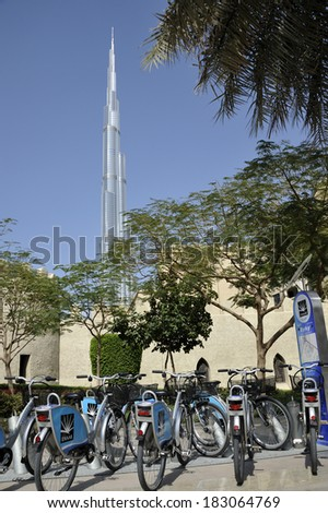 DUBAI,UNITED ARAB EMIRATES, FEBRUARY  7, 2014; Bicycle rental service in Dubai with at background the Burj Khalifa. February 7, 2014 Dubai, United Arab Emirates