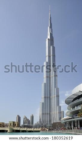 DUBAI, UNITED ARAB EMIRATES-FEBRUARY 07:Burj Khalifa (Burj Dubai) in the morning light raising next to the Dubai Mall.February 07,2014 Dubai, United Arab Emirates