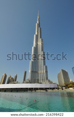 DUBAI, UNITED ARAB EMIRATES - JANUARY 6, 2013: Burj Khalifa tower. This skyscraper is the tallest man-made structure in the world, measuring 828 m. Completed in 2009. January 6, 2013 Dubai, UAE