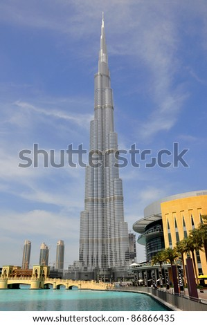 DUBAI, UNITED ARAB EMIRATES - MARCH 13: Vertical panorama of a skyscraper Burj Khalifa on March 13, 2011 in Dubai, UAE. It is currently the tallest structure in the world, at 828 m (2,717 ft).