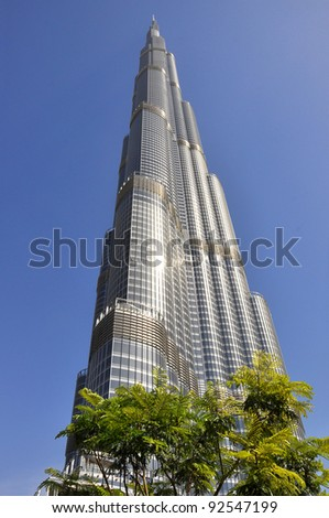 DUBAI, UNITED ARAB EMIRATES - MARCH 23: Vertical panorama of a skyscraper Burj Khalifa on March 23, 2011 in Dubai, UAE. It is currently the tallest structure in the world, at 828 m (2,717 ft).
