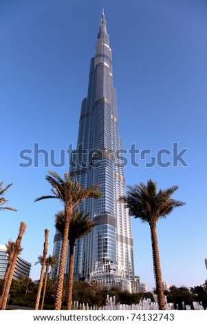 DUBAI, UNITED ARAB EMIRATES - MARCH 21: View at Burj Khalifa in Dubai, on March 21, 2011. The highest building in the world at a height of 828m.