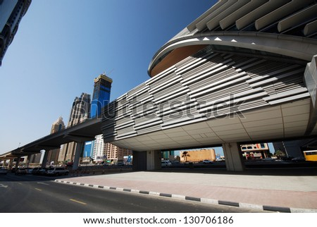 DUBAI, UNITED ARAB EMIRATES - NOVEMBER 4: Overview of the business district in Dubai November 4, 2011 in Dubai, United Arab Emirates. This is an overview of the buildings in the business district.