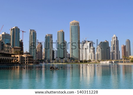 DUBAI/UNITED ARAB EMIRATES - NOVEMBER 22: Progress of construction work in Dubai November 22nd, 2011. The city is famous with high-rise buildings and vertical construction work.