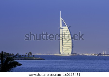 DUBAI, UNITED ARAB EMIRATES -OCTOBER 2 2012 : Burj Al Arab, The most famous landmark 7 stars hotel of United Arab Emirates. Picture taken October 2, 2012.