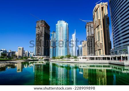 DUBAI, UNITED ARAB EMIRATES - OCTOBER 19 2014 :Jumeirah lake towers. Picture taken on October 19, 2014