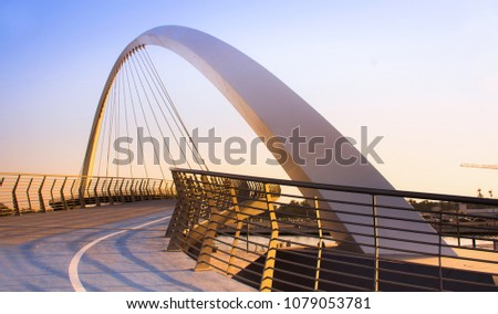 Dubai Water Canal Bridge New Attraction of Dubai City, best place to visit in dubai, travel tourist destination, modern architecture work #1079053781