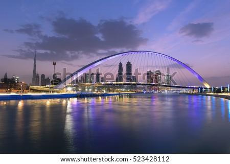 Dubai water canal in Morning Dusk