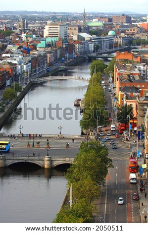Dublin City Aerial View featuring O'Connell Bridge over the river liffey