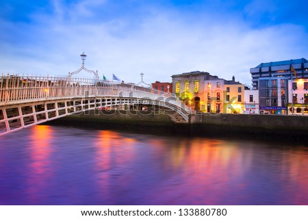 dublin ireland at dusk with...