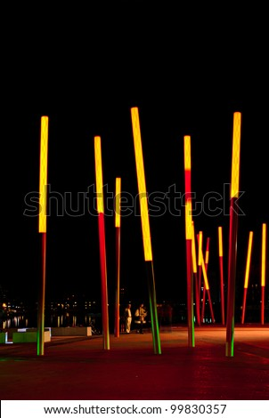 DUBLIN, IRELAND - AUGUST 23: Grand Canal Square, designed by leading international landscape architects and urban designers Martha Schwartz Partners at night time on August 23, 2011 in Dublin, Ireland