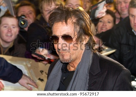 DUBLIN, IRELAND - FEBRUARY 20: Al Pacino attend at premiere of his Wilde Salome movie at Jameson Dublin International Film Festival in Savoy Cinema on February 20, 2012 Dublin, Ireland