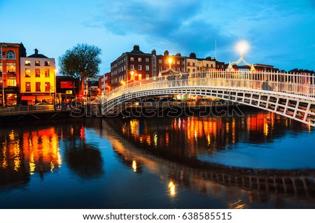 dublin  ireland. night view of...