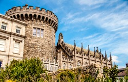 Dublin,  Ireland. Panoramic view of a strong tower of the Dublin castle, in Dublin, Ireland.