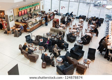 DUBLIN - JANUARY 16, 2013: Starbucks Coffee have 17 stores in the Republic of Ireland including one store at Terminal 1 in Dublin Airport on January 16, 2013 in Dublin.