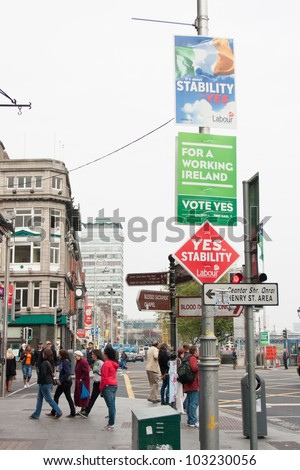 DUBLIN - MAY 20: Roadside campaign placards endorsing the YES or NO vote on May 20, 2012 in Dublin. On 31 May 2012 the Irish people will vote in a referendum on whether to ratify the Stability Treaty.