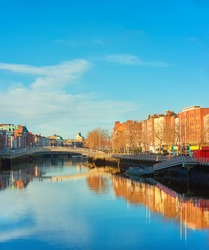 Dublin, panoramic image of Half penny bridge, or Ha'penny bridge, on a bright day, space for your text