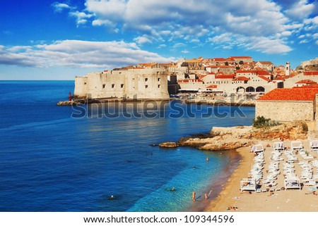 Dubrovnik beach at sunrise