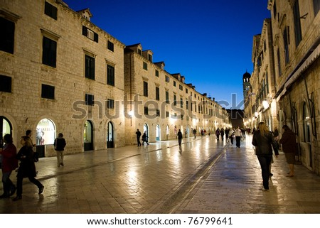 DUBROVNIK, CROATIA - OCTOBER 10: Stradun, Main street in Dubrovnik, on October 10, 2010.  Dubrovnik is one of the Top 10 holiday destination in 2011 by Times Online.