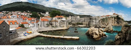 Dubrovnik. Croatia. Panorama of old and new town. - stock photo