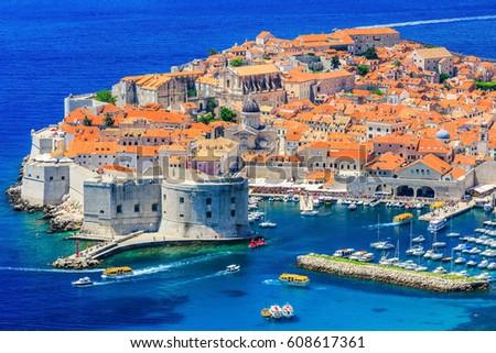 Dubrovnik, Croatia. Panoramic view of old town. #608617361