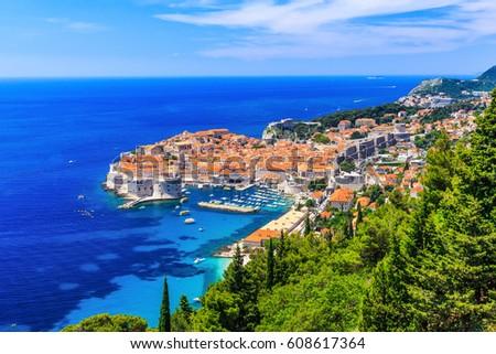 Dubrovnik, Croatia. Panoramic view of old town. #608617364