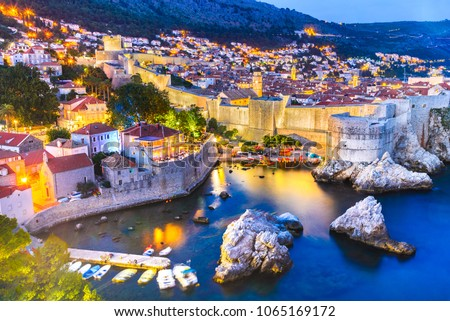 Dubrovnik, Croatia. Spectacular twilight picturesque view on the old town of Ragusa from the Lovrijenac Fortress.