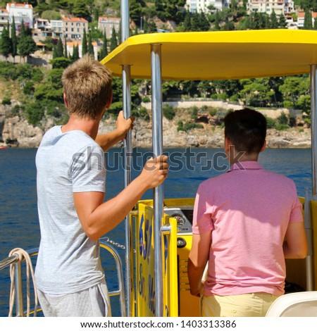 Dubrovnik, harbor, yellow submarine, underwater pictures, sea bottom, Sun rays at the bottom of the sea. Sea bird