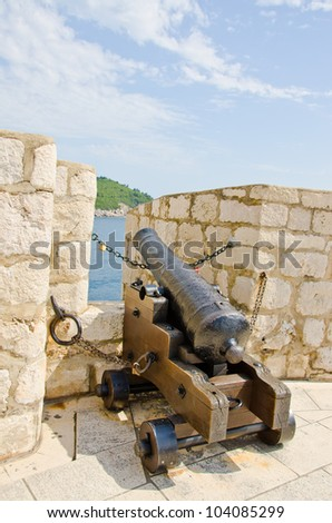 Dubrovnik - old cannon on defensive walls