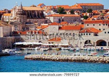 Dubrovnik Old City medieval architecture in Croatia, Dalmatia County - stock photo