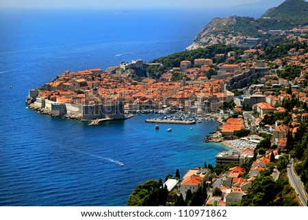 Dubrovnik Old Town aerial view from coast line