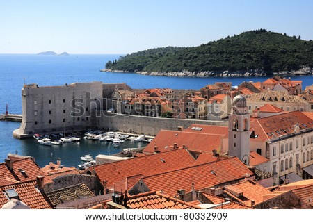 Dubrovnik old town and Lokrum island on the Adriatic Sea in Croatia