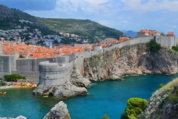 Dubrovnik panorama with the Mediterranean Sea, mountains and medieval fortress wall