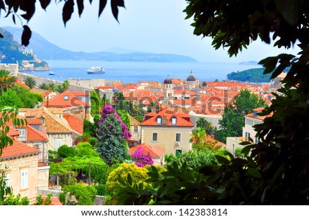 Dubrovnik - view of the old town through the trees