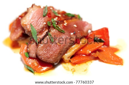 Duck Breast With Savory Sauce, Asian Style Dish Stock Photo 77760337 ...