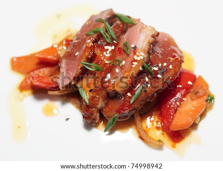 Duck fillet with savory sauce, asian style dish