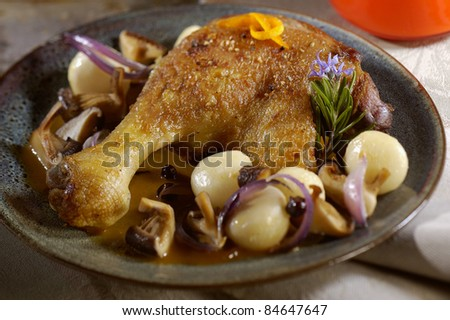 Duck leg with turnips