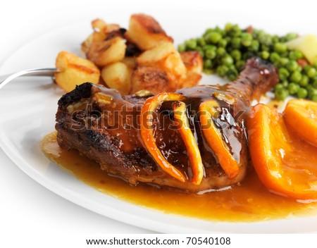 Duck with orange sauce