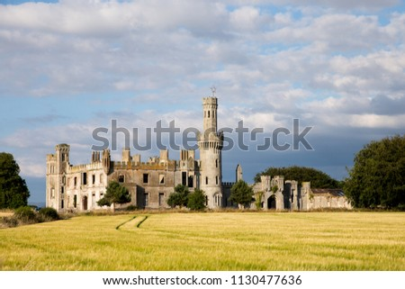 Ducketts grove ruins. Old castle ruins in Co. Carlow. Tourist attraction point. Ireland #1130477636