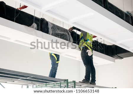 Duct air system at construction site stock photo