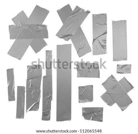 Duct repair tape silver patterns kit isolated