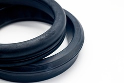 Ductile pipe gasket close-up, rubber gasket