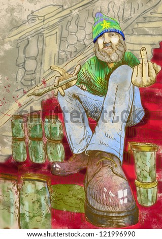 Dude selling marijuana on the stairs with red carpet and showing middle finger fuck off. / Full-sized (original) hand drawing. Technique: digital tablet. Color illustration on old paper